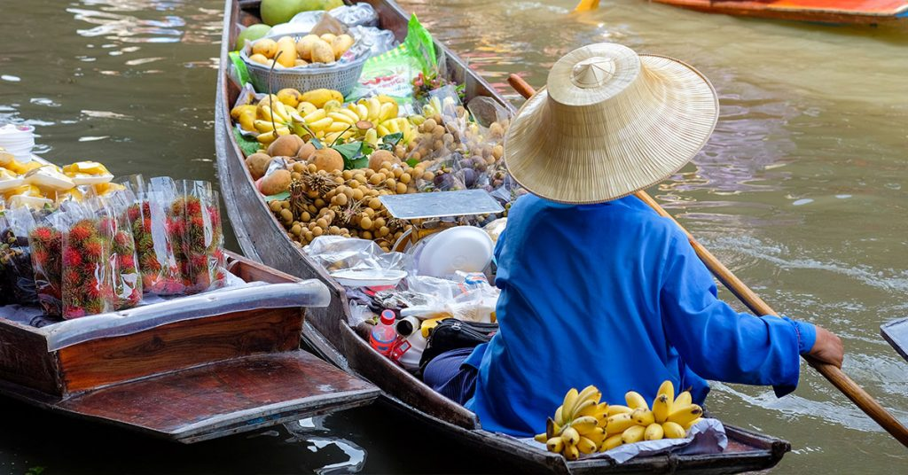 One of the best floating markets in Thailand Damnoen Saduak