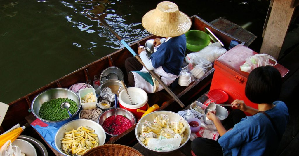 One of the best floating markets in Thailand Taling Chan